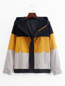 Colorblock Splicing Hooded Jacket