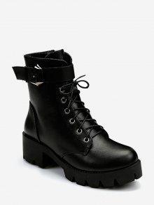 سهل كعب مكتنزة ربط الحذاء حتى الأحذية قصير - أسود الاتحاد الأوروبي 38