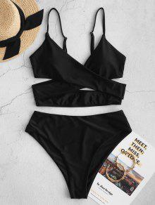 ZAFUL كروس السامي قص انقطاع Tankini ملابس السباحة - أسود M