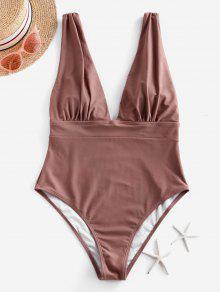 ZAFUL Ruched وقطرة الكم الغطس من قطعة واحدة ملابس السباحة - الكاكي روز L