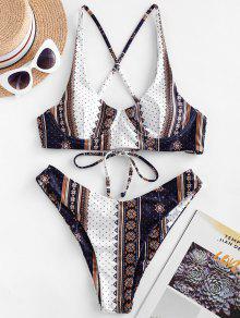 ZAFUL العرقي مطبوعة Cinched Underwire بيكيني ملابس السباحة - متعددة-a M