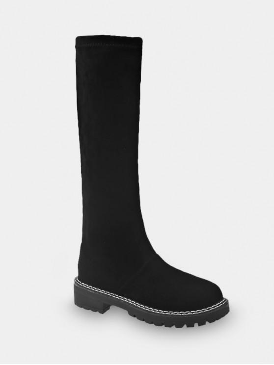 New Faux Suede Round Toe Knee High Boots   Black Eu 35 by Zaful