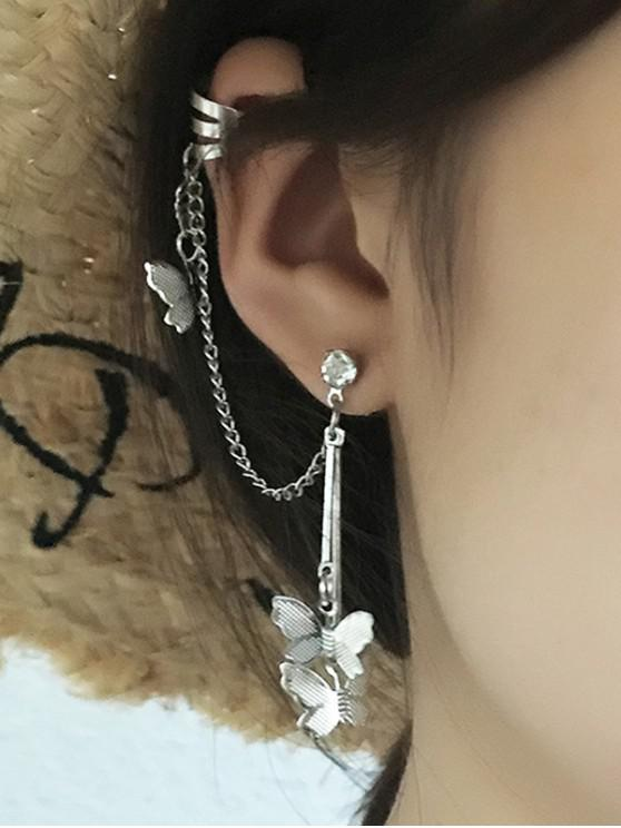 fancy Butterfly Chain Dangle Ear Cuff - SILVER