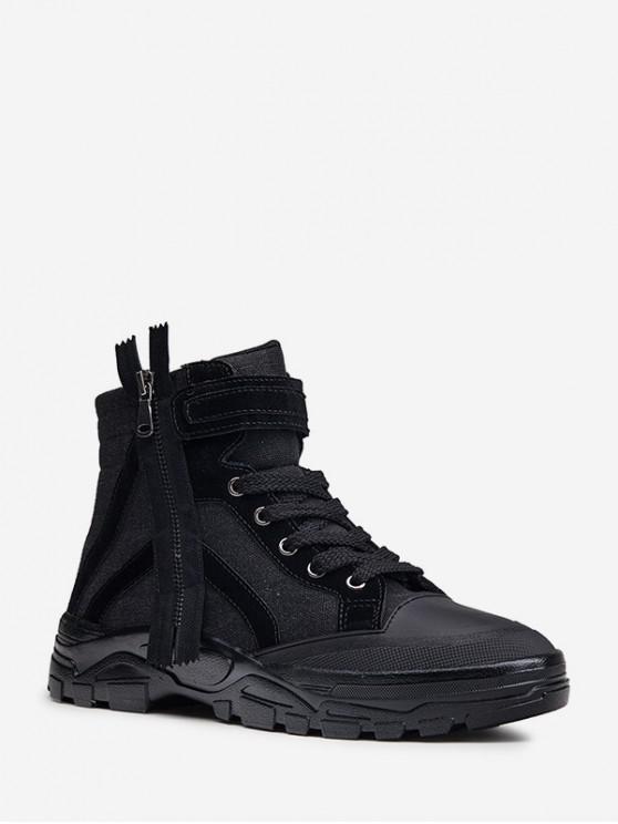 chic Zip Design Hook Loop Canvas Ankle Boots - BLACK EU 40