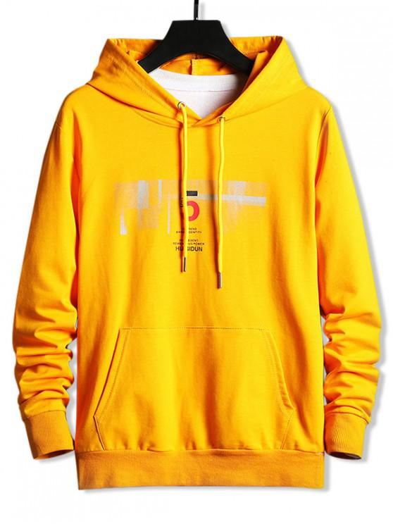 hot Letter Graphic Kangaroo Pocket Drawstring Casual Hoodie - YELLOW M
