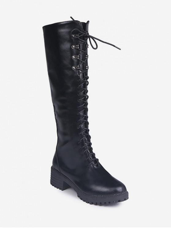平台矮胖鞋跟膝蓋高的騎士靴 - 黑色 歐盟43