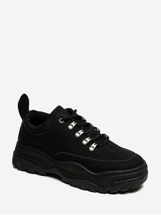 women's Retro Low Top Platform Dad Sneakers - BLACK EU 39