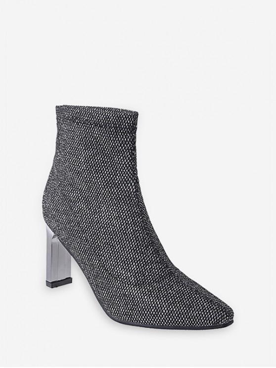 trendy Glitter Pointed Toe Chunky Heel Short Boots - PLATINUM EU 40