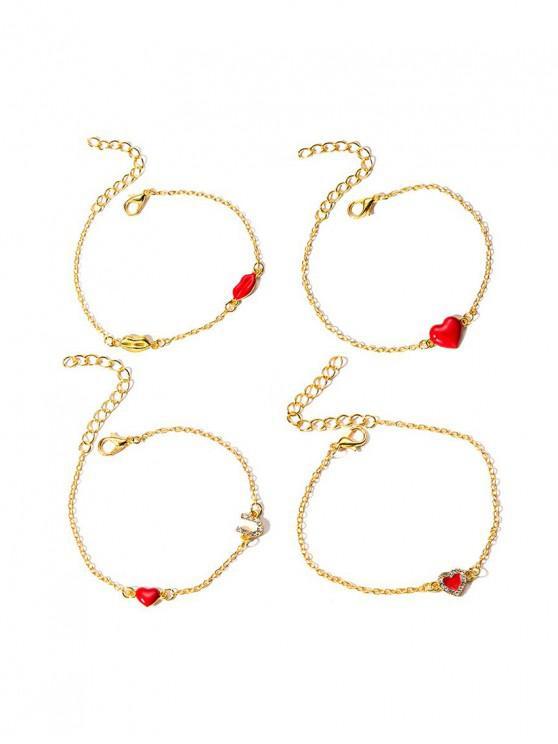 outfits 4Pcs Heart Lip Rhinestone Bracelet Set - GOLD