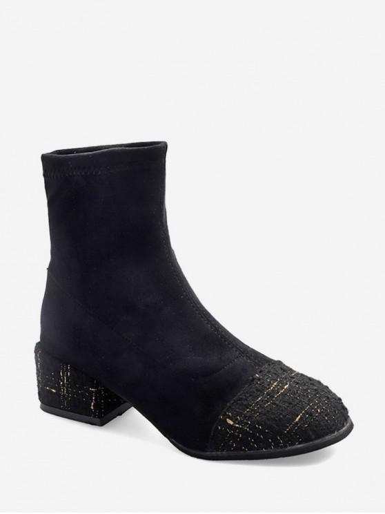 women Tweed Panel Suede Chunky Heel Ankle Boots - BLACK EU 35