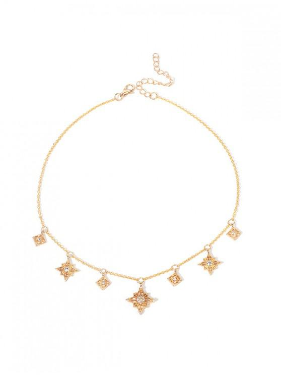 hot Hollow Star Rhinestone Pendant Necklace - GOLD