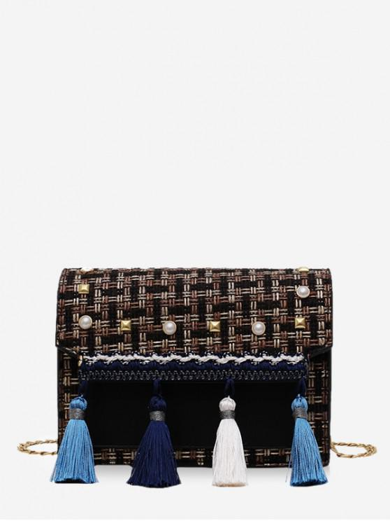 outfit Faux Pearl Embellished Tassel Tweed Square Bag - BLACK