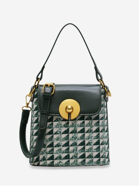 shops Triangle Pattern Linen Buckle Bag - DEEP GREEN