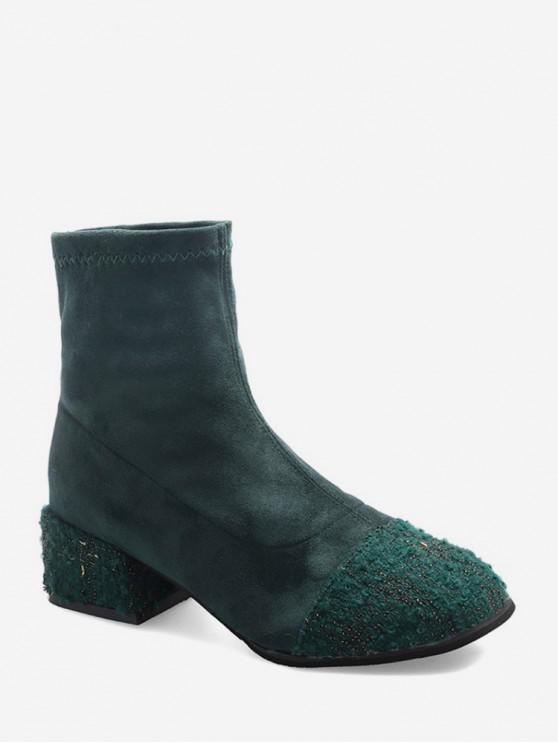 trendy Tweed Panel Suede Chunky Heel Ankle Boots - DARK FOREST GREEN EU 36