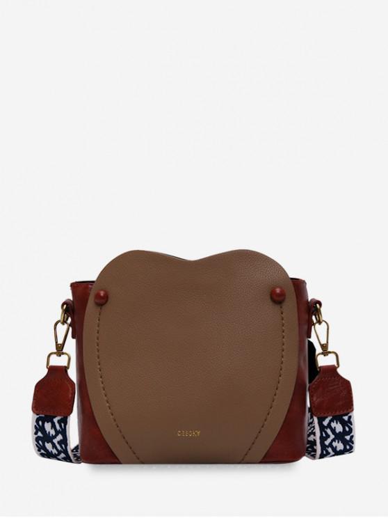 buy Contrast Color Retro PU Buckle Bag - BROWN