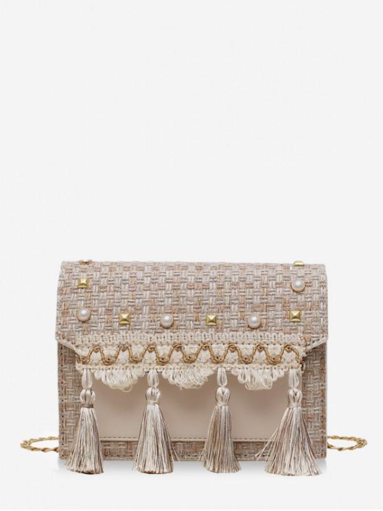 best Faux Pearl Embellished Tassel Tweed Square Bag - BEIGE