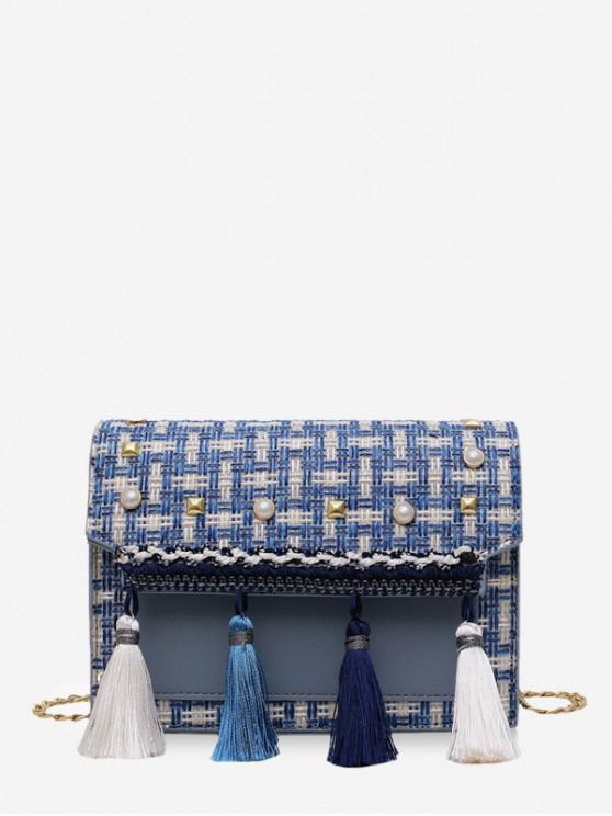 online Faux Pearl Embellished Tassel Tweed Square Bag - BLUEBERRY BLUE