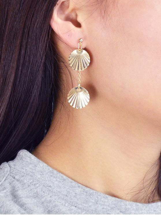 outfit Round Metal Stud Drop Earrings - GOLD