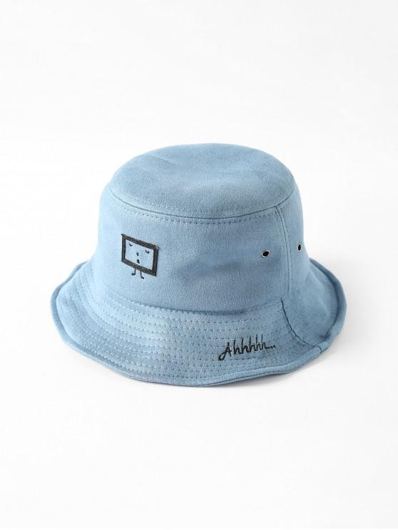 Chapeau Seau Dessin Animé Brodé Imprimé - Bleu-gris