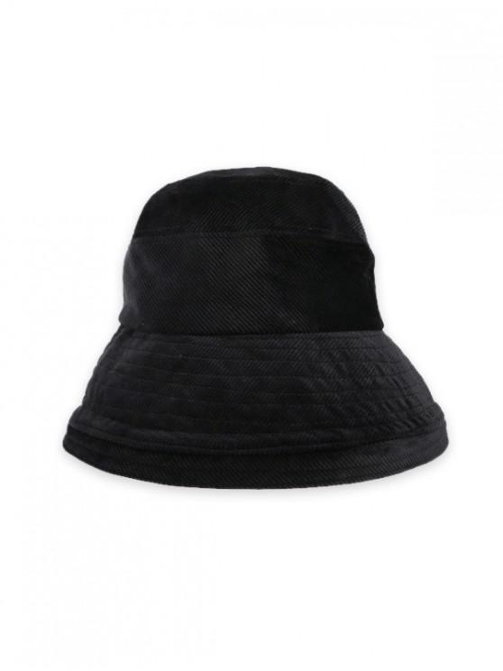 shops Solid Corduroy Bucket Simple Hat - BLACK
