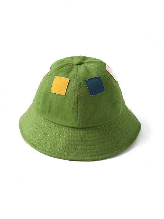 trendy Square Patchwork Button Bucket Hat - GREEN