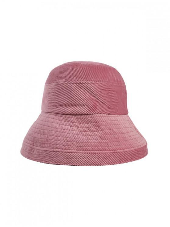 hot Solid Corduroy Bucket Simple Hat - PINK