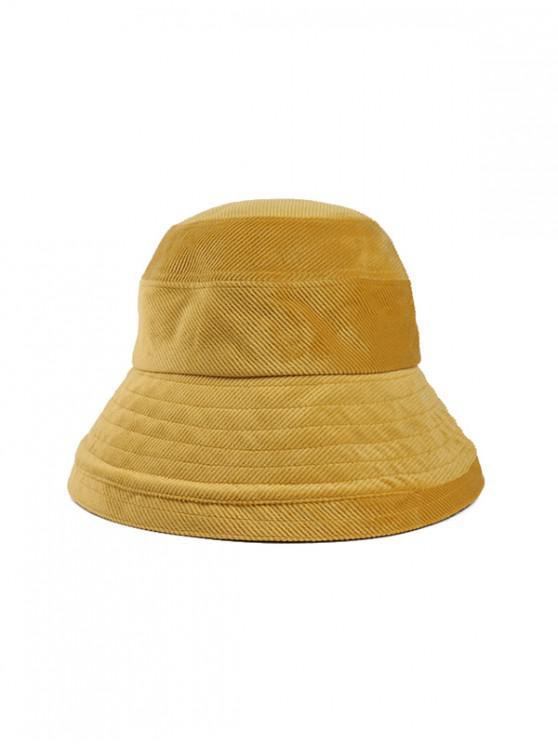 latest Solid Corduroy Bucket Simple Hat - YELLOW