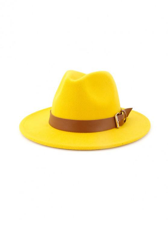 chic Solid Buckle Belt Design Jazz Fedoras - YELLOW