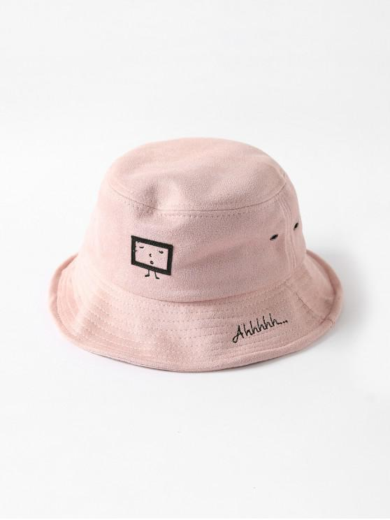 sale Embroidered Cartoon Print Bucket Hat - PINK