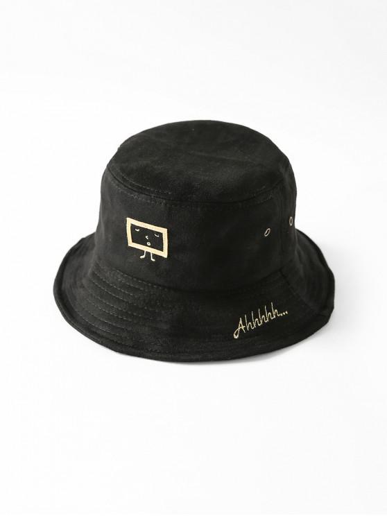 Imprimir Cubo de dibujos animados sombrero bordado - Negro