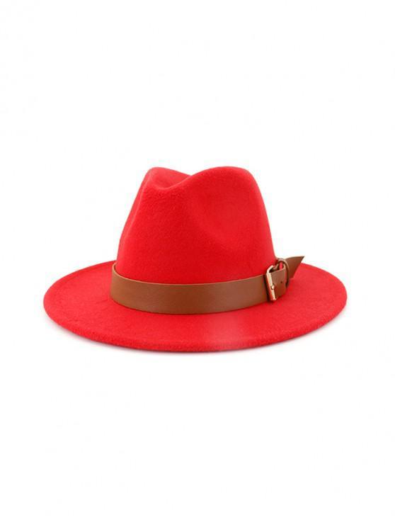new Solid Buckle Belt Design Jazz Fedoras - RED