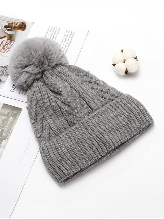 outfits Fuzzy Ball Winter Knitted Solid Pearl Hat - GRAY