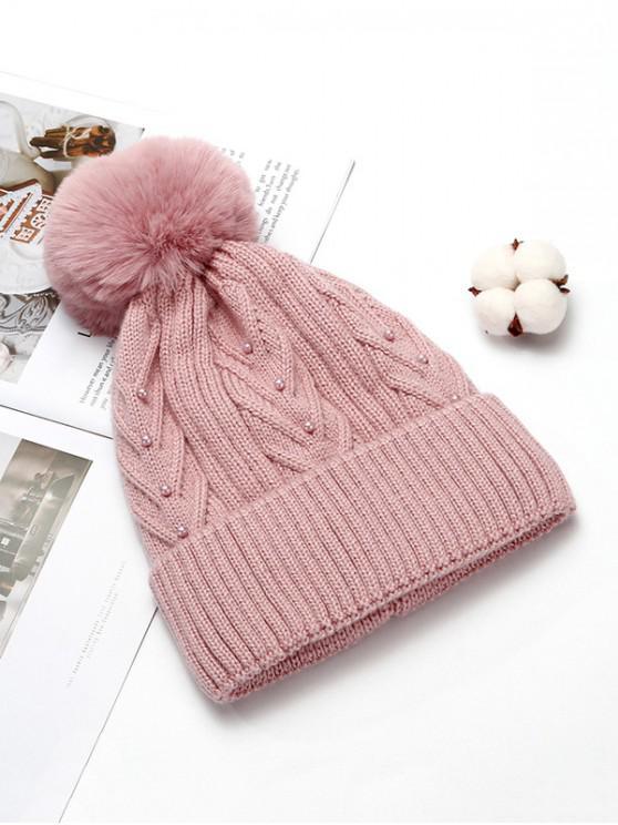 Chapeau d'Hiver Tricoté en Couleur Unie avec Boule Fourrée - Rose Léger