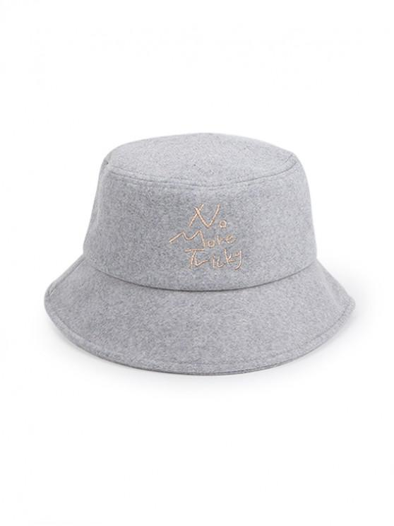 trendy Thick Character Pattern Winter Bucket Hat - GRAY