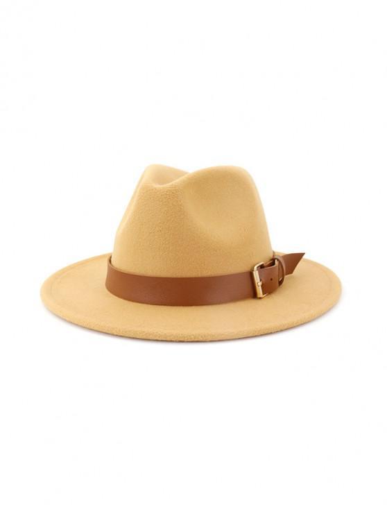 sale Solid Buckle Belt Design Jazz Fedoras - CAMEL BROWN