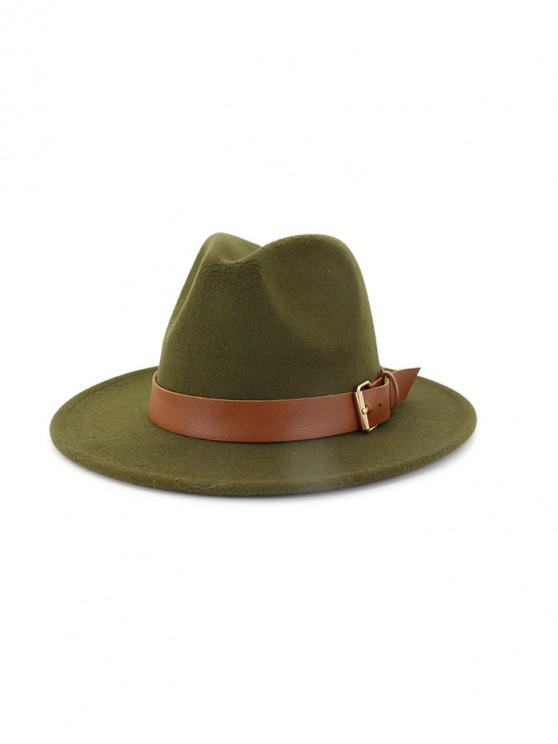 lady Solid Buckle Belt Design Jazz Fedoras - ARMY GREEN