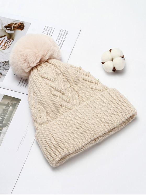 best Fuzzy Ball Winter Knitted Solid Pearl Hat - BEIGE