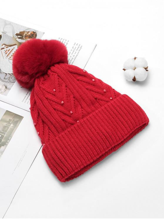 Fuzzy Hat Pearl Solid Winter Ball a maglia - Rosso