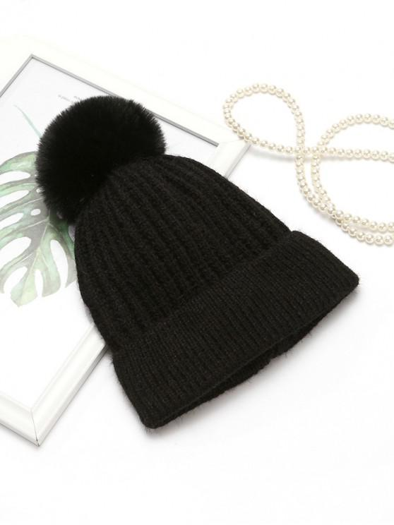 De punto simple europea del sombrero del invierno - Negro