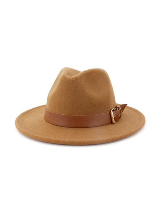 outfit Solid Buckle Belt Design Jazz Fedoras - KHAKI