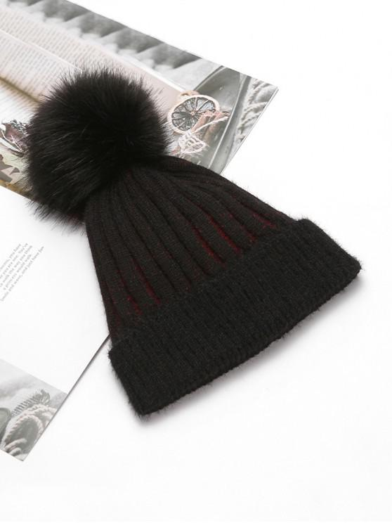 shops Striped Winter Solid Fuzzy Ball Knitted Hat - BLACK