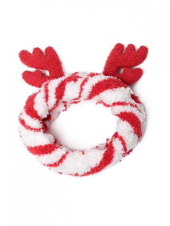 chic Christmas Elk Antler Fleece Elastic Headband - RED