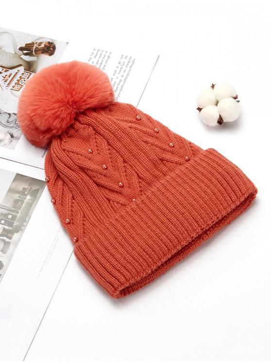 Difusa de punto de bola del sombrero del invierno Perla Sólido - Mandarina