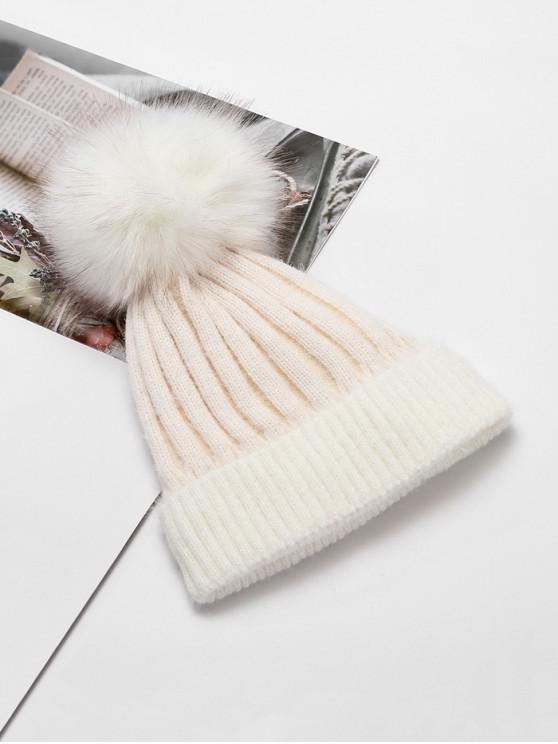 Chapeau d'Hiver Rayé en Couleur Unie avec Boule Fourrée - Blanc
