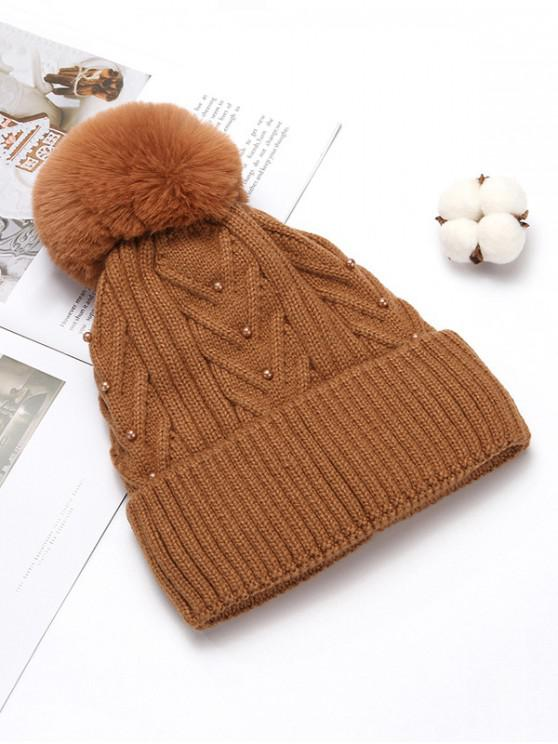 hot Fuzzy Ball Winter Knitted Solid Pearl Hat - CARAMEL