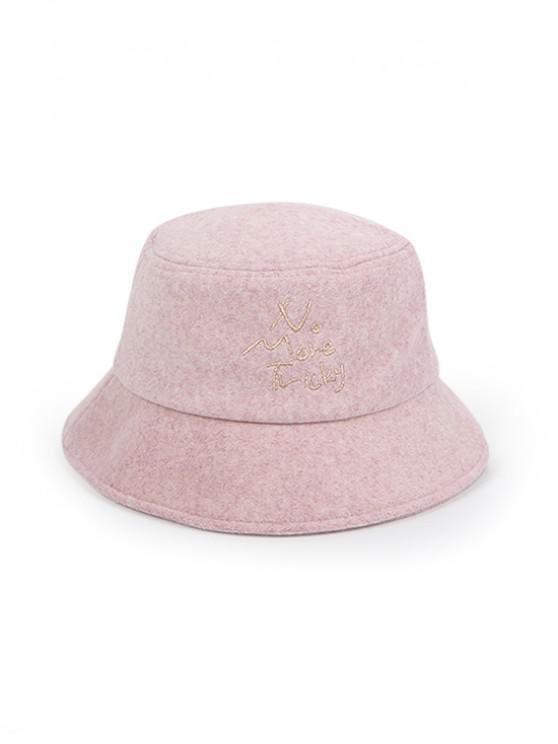 Chapeau Seau d'Hiver Epais Motif de Caractère - Rose