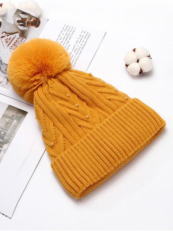 Chapeau d'Hiver Tricoté en Couleur Unie avec Boule Fourrée - Jaune