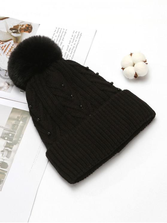 chic Fuzzy Ball Winter Knitted Solid Pearl Hat - BLACK
