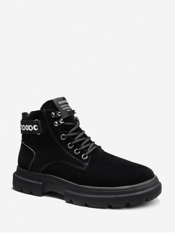 chic Letter Strap Faux Suede Cargo Boots - BLACK EU 39