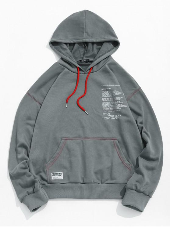 latest Letter Texting Graphic Kangaroo Pocket Drawstring Hoodie - GRAY S
